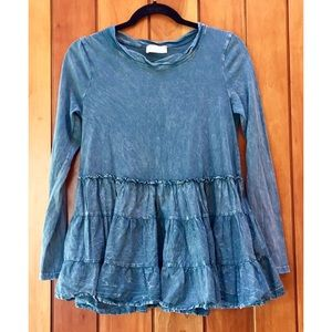 Altar'd State Long Sleeve Acid Wash Ruffle Top